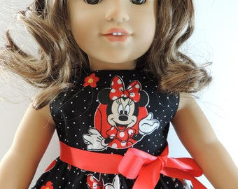 18 Inch Doll Dress - Fit American Girl Doll  - Minnie Mouse Dress - Black