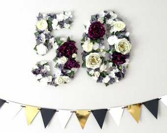 50th Birthday Party Decorations Large Flower Covered Numbers Photo Backdrop 50th Anniversary Fiftieth Birthday Party Decoration Purple/White