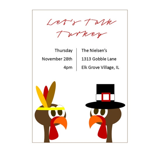 Turkey Thanksgiving Invitation, Fun Thanksgiving Day Invitations