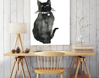 Cat art print, watercolor black cat, cat wall art