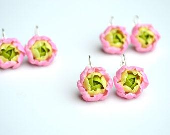 Pink peony ranunculus flower floral earrings jewelry. Wedding bridal peony ranunculus earrings jewelry. Polymer clay flower jewelry