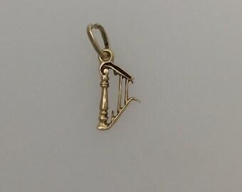 9ct Gold Harp Charm