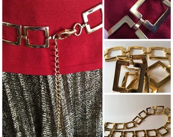 Beautiful Goldtone Square Link Belt - Made in Italy...Retro Fashion Accessory