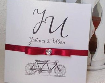 Luxury Red Wedding Invitation, Winter Wedding Invitation