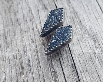 Black Druzy Earrings // Sterling + Fine Silver Druzy Stud Earrings.  Natural Druzy Earrings.  Coffin Earrings.  Diamond druzy studs.