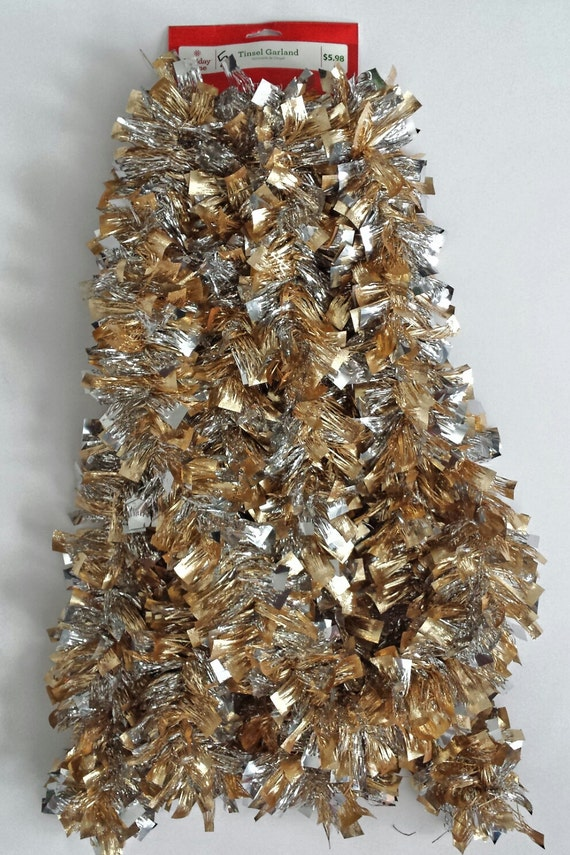 Fancy christmas tinsel garland silver and gold