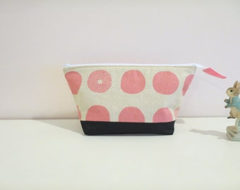 Pink Polka Dot Cosmetic Pouch, Make-up Bag