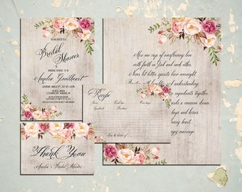 Printable Bridal Shower Invitation set, invitation recipe thank you cards Boho invite Digital Files, Wood Rustic Bridal Shower, Shower DIY