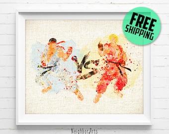 Street Fighter Poster, Ken & Ryu Watercolor Art Print, Burlap Print, Kids Decor, Home Decor, Gifts, Not Framed, Buy 2 Get 1 Free! NA115