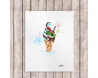 "ORIGINAL watercolor painting ICE CREAM A4 210 X 297 mm (8,3"" x 11,7"") oferta"