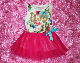 """Two Tutu Dress Glitter Second 2nd Birthday Baby Girl - """"Two"""" 2nd Second Birthday Outfit - Floral Print & Hot Pink Skirt with Gold Glitter"""