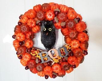 Pumpkins Black Owl Wreath BOO Halloween Autumn Acorns