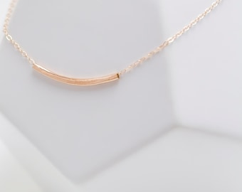 14k Rose Gold Necklace / Hammered Necklace / Dainty Layering Necklace / Rose Gold Bar Necklace / Curved Bar Necklace / Hammered Bar Necklace