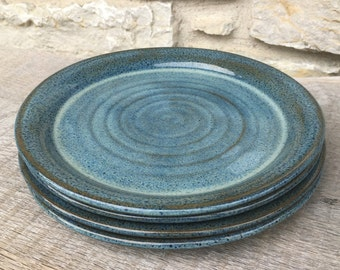 Pottery dinner plates set of 4 wheel thrown dinner platters in Rutile Blue glaze