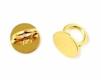 2 - Gold Plated Sterling Silver button bead with 8mm plate setting and 4mm hole, Sterling Silver Bead, Gold Setting Bead