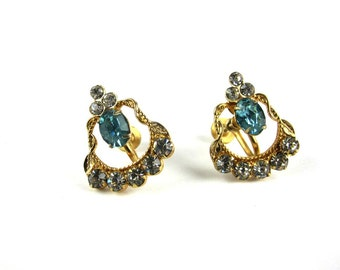 Blue Rhinestone Earrings, Screw Back Gold Tone Earrings, Clear Rhinestone Earrings, Circa 1950s