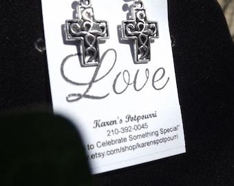 Small Silver Tone Ornate Cross Earrings