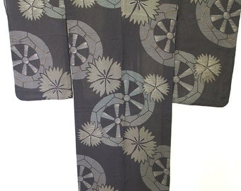 Summer kimono,Japanese vintage kimono, Omeshi for summer kimono ,dianthus, black,silver, excellent condition, silk, made in Japan, Kyoto