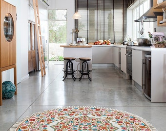 5 round rug floral area rugsrug area - Affordable Area Rugs