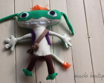 "Handmade Fleece Bob Goblin Inspired Doll from Wallykazam - 12"" Tall FREE US SHIPPING"
