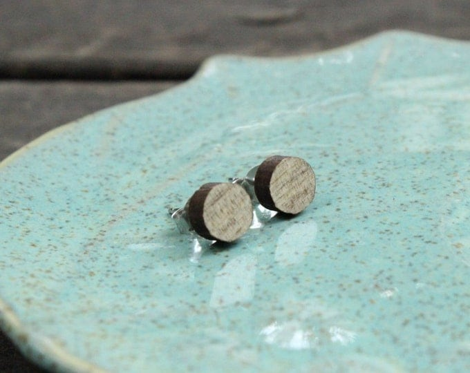 Round Wood Stud Earrings in Beetle Kill PIne