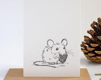 Letterpress mouse mini notes set of six