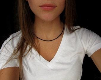 Black Beaded Choker Necklace // Seed Bead Choker // Black Choker // Black Necklace // Handmade Choker // Beaded Choker // Sterling Silver
