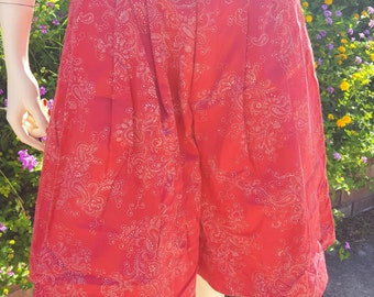Retro 80's High Waisted Pleated Shorts by BUSHWACKER USA in Red Paisley Print