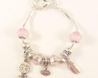 Charm Bracelet for Mommy, European, Grandma, Charm,Bead, Bracelet, Girl,Boy, Accessories, Birth, Pink, Blue, Keepsake, Remember