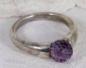 Vintage Sterling Silver Faceted Purple Amethyst Ring • Size 10 • February Birthstone • Amethyst Jewelry • Made in India