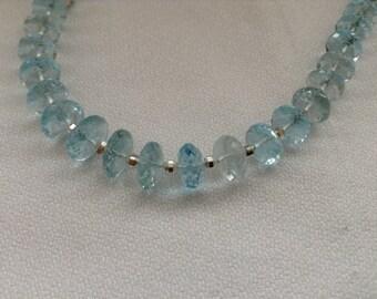 SALE...Sky blue Topaz statement necklace. Sparkly genuine Topaz necklace.