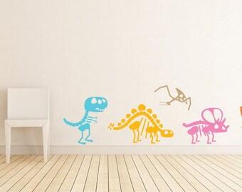 Cute Dinosaurs Full Color Bones Kids Room Playroom Décor Wall Decal