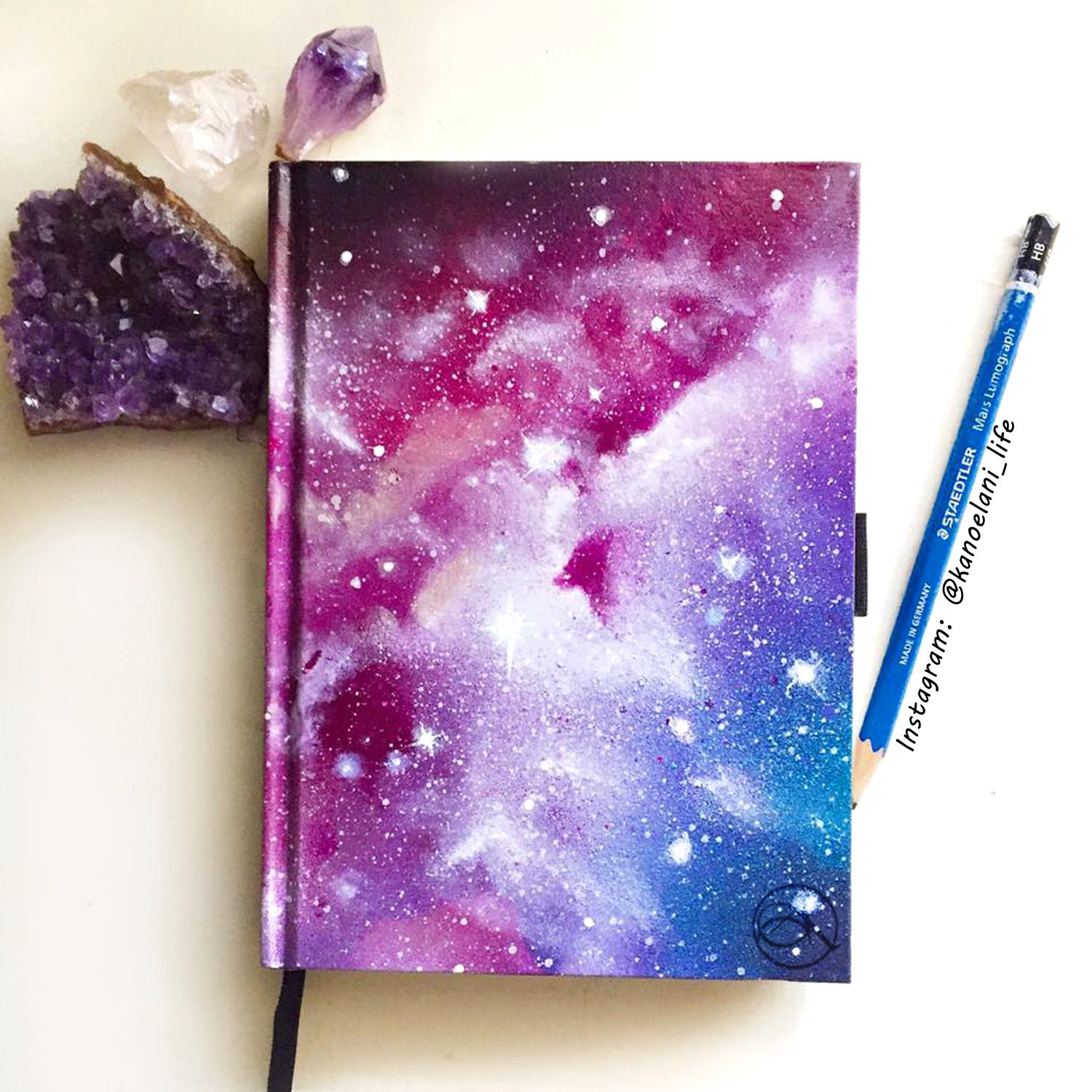 Book Cover Watercolor Art ~ Notebook sketchbook hand painted space art