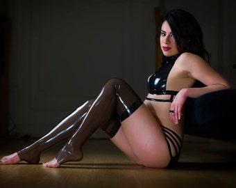 Black Lara Latex Stockings - Transparent