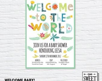 Printable Baby Shower Invitation, neutral gender, Bright Illustration, Invitation, DIY print