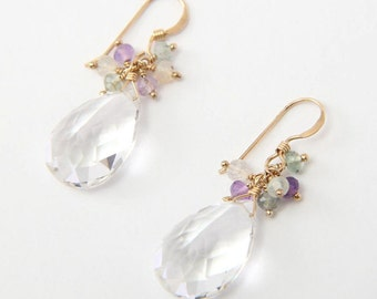 Crystal & Colorful Earrings - 14k Gold Filled