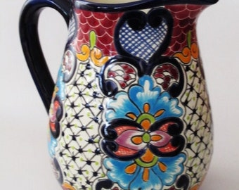 Talavera Water Pitcher, Serving Pitcher, Mexican Pottery, Talavera Pottery
