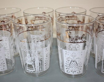 Fun, Vintage Anchor Hocking Juice Glasses: Horse and Buggy, 8-piece set