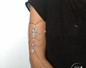 Crystal Arm Bracelet, Boho Arm Jewelry