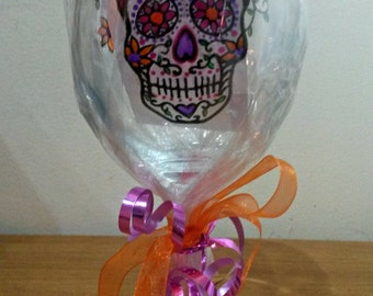 Personalised Candy Skull wine glass