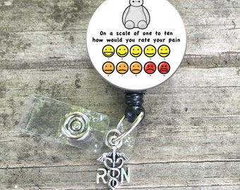 Pain scale badge reel / lanyard