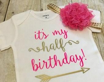 Half Birthday Onesie | 6 Month Birthday Onesie | Half Birthday Outfit | Baby Girl Outfit | Baby Girl Halfway to One Outfit