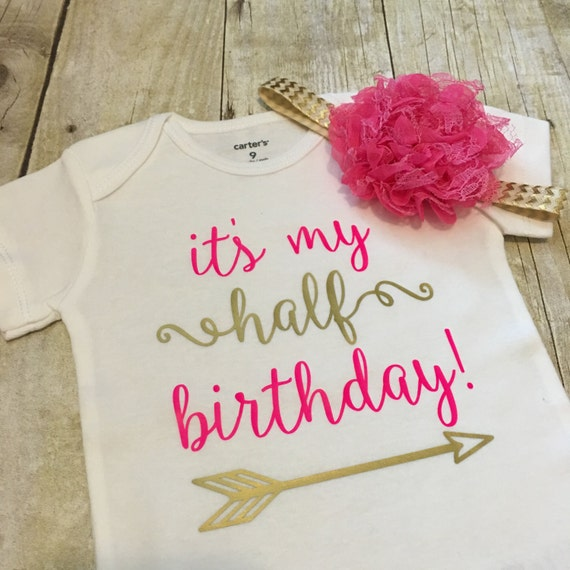 Half Birthday Onesie 6 Month Birthday Onesie Half Birthday