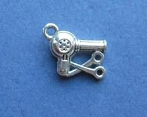 10 Blow Dryer Charms - Blow Dryer Pendants - Scissors Charm - Hair Dresser Charm - Antique Silver - 16mm x 11mm --(No.39-10570)