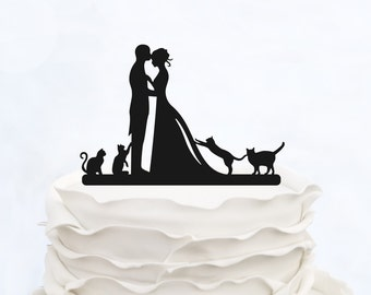 Wedding Cake Topper With four Cats_Bride And Groom Couple Silhouette_Custom Cake Topper_bridal show topper personalized