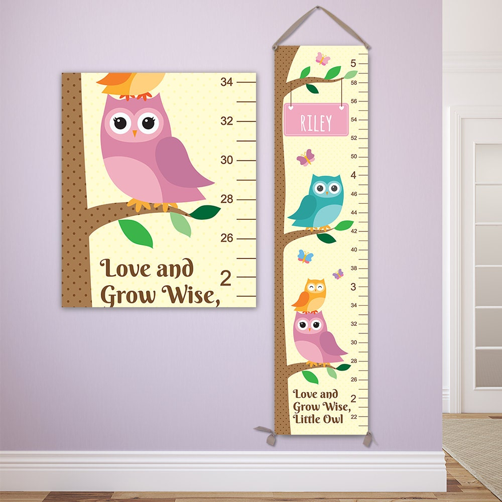 Owl growth chart personalized canvas growth chart owl nursery owl growth chart personalized canvas growth chart owl nursery decor owl height chart owl baby art personalized toddler gift gc4000y nvjuhfo Choice Image