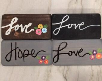 Love&Hope//Small Blocks// Painted