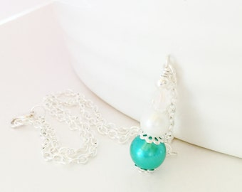 Jade Pearl Necklace Pendant Necklace Wedding Jewelry Jade Drop Pendant White Pearl Necklace Bridesmaid Gift Crystal Jewelry Flower Girl Gift