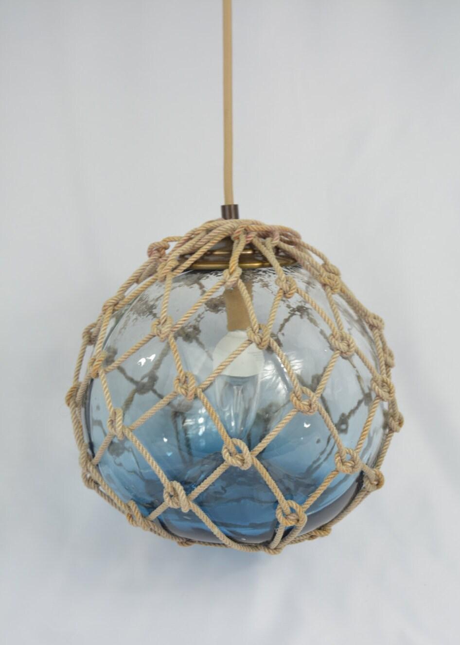 Blue Glass Fishing Float Pendant Light Tan Cotton Cord