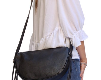Leather Bag. Italian Handcrafted Black Cross Body Hobo Bag shoulder purse for City Bag Office. Gift for wife anniversary, daughter. Ganza